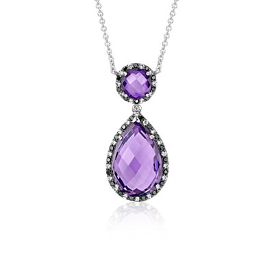 Robert Leser Amethyst and Diamond Halo Drop Necklace in 14k White Gold (15x10mm)