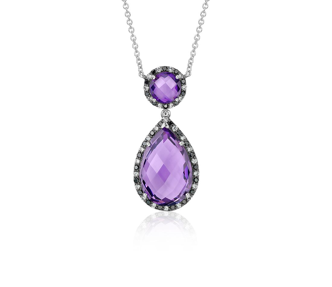 Robert Leser Amethyst and Diamond Halo Drop Necklace in 14k White Gold