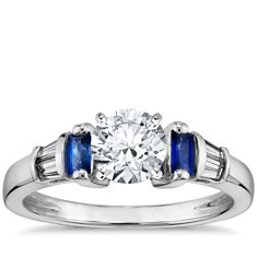 Robert Leser Baguette-Cut Sapphire and Diamond Engagement Ring in 18k White Gold