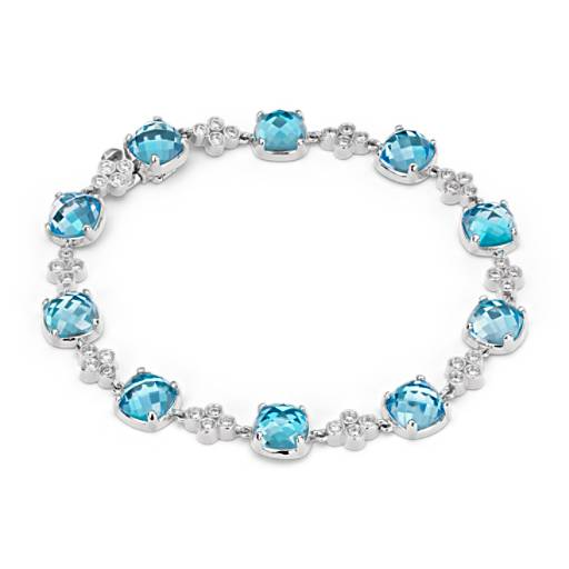 Robert Leser Trinity Blue Topaz and Diamond Bracelet in 14K White Gold (7x7mm)