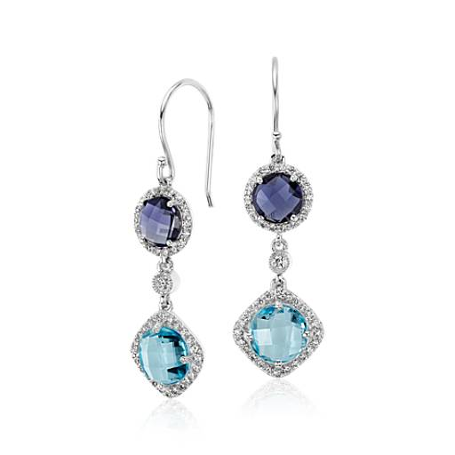 Robert Leser Multicolor Gemstone Confetti Earrings in 14k White Gold