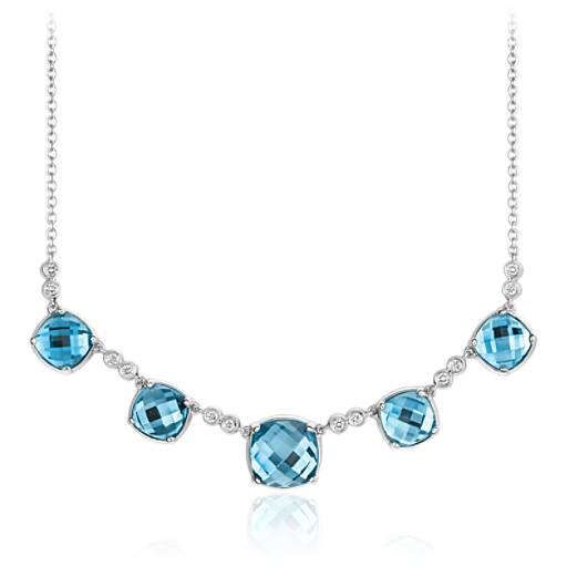 Robert Leser Trinity Blue Topaz and Diamond Necklace in 14K White Gold (9x9mm)