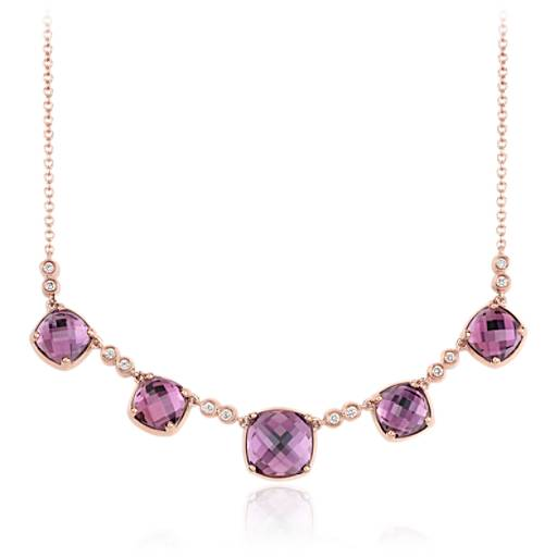 Robert Leser Trinity Amethyst and Diamond Necklace in 14K Rose Gold
