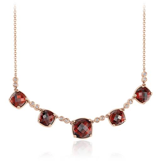 Robert Leser Trinity Garnet and Diamond Necklace in 14K Rose Gold (9x9mm)