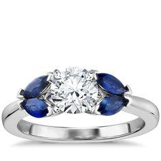 Robert Leser Butterfly Sapphire Engagement Ring in 18k White Gold