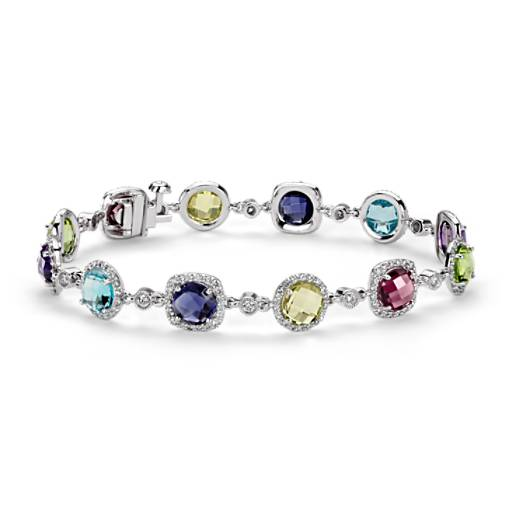 Robert Leser Multi-Gemstone Confetti Halo Bracelet in 14k White Gold