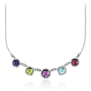 Robert Leser Multicolored Gemstone Confetti Halo Necklace in 14k White Gold (7mm)