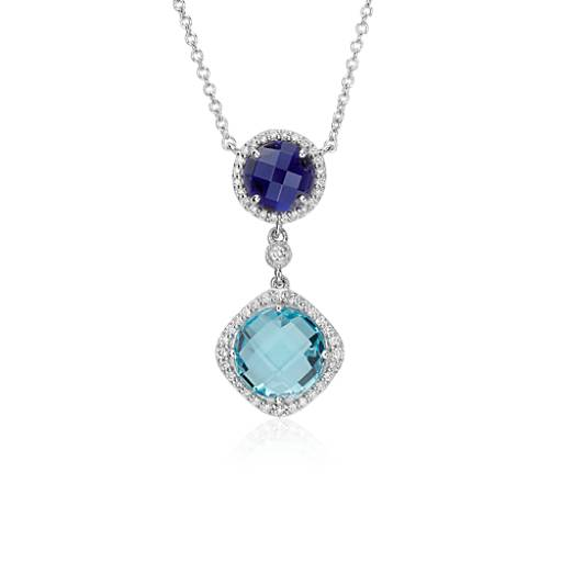 Robert Leser Multigemstone Confetti Halo Drop Necklace in 14k White Gold (9mm)