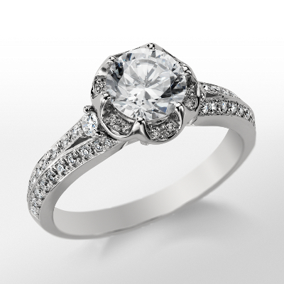 Monique Lhuillier Flower Engagement Ring in Platinum