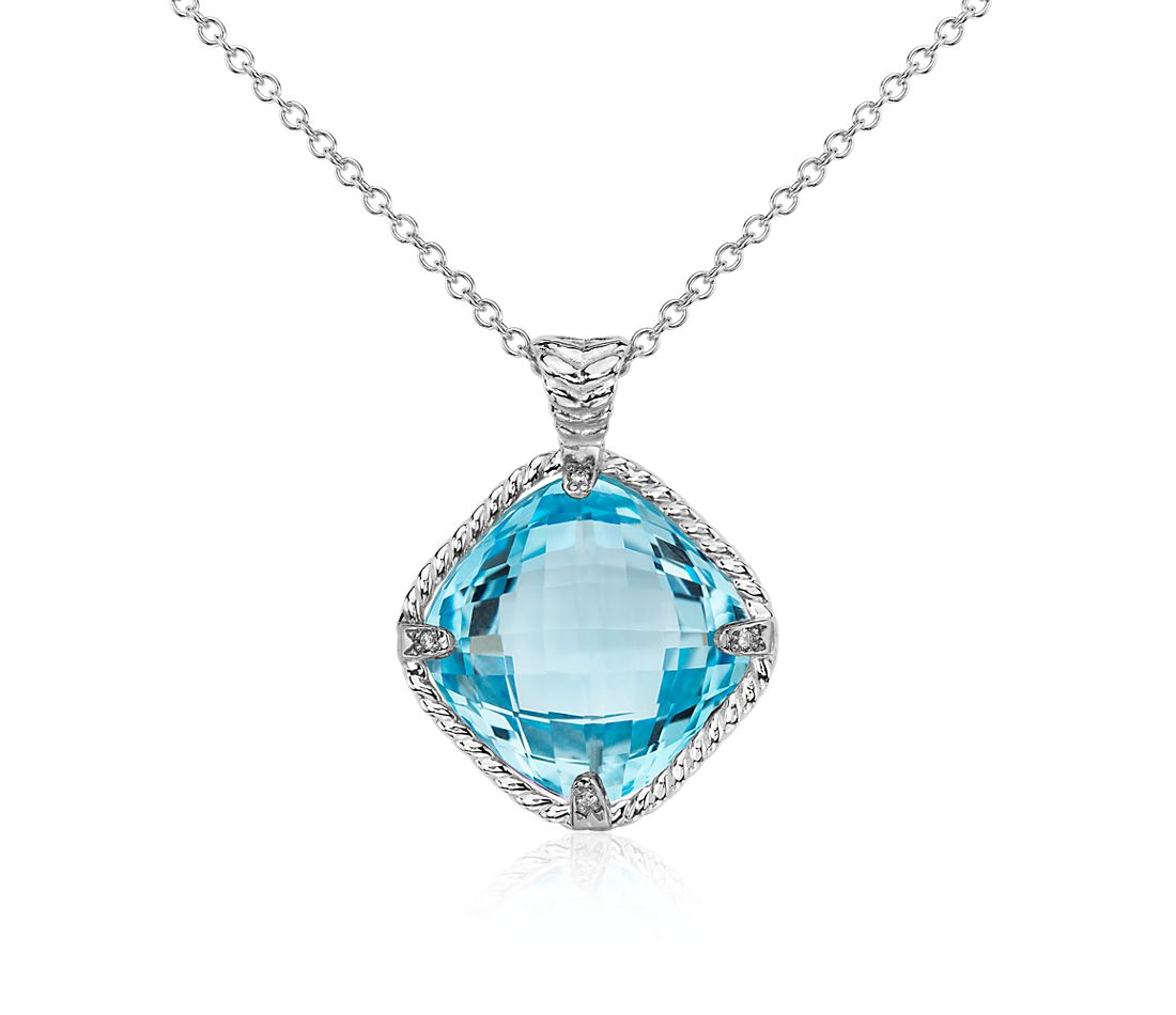 Roped Blue Topaz and Diamond Cushion Pendant in 14k White Gold