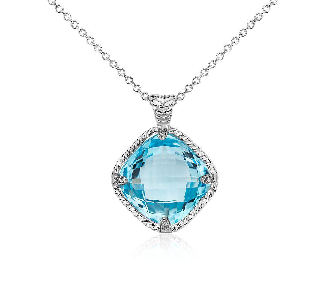 Colgante de diamante y topacio azul en oro blanco de 14k