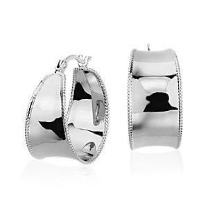 """Roped Hoop Earrings in Sterling Silver (7/8"""")"""