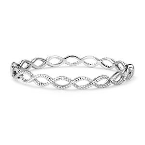 NEW Roped Infinity Hinged Bangle in Sterling Silver
