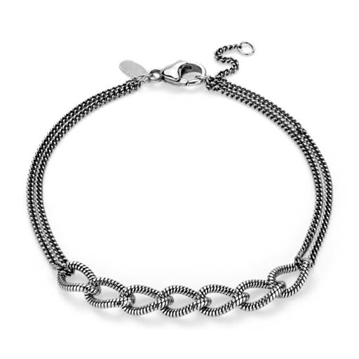 Textured and Roped Linked Bracelet in Sterling Silver