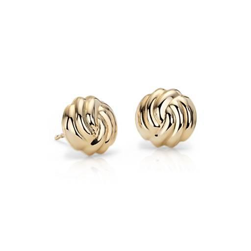 Roped Stud Earrings in 14k Yellow Gold