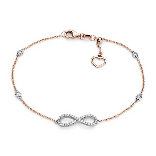 NEW Diamond Station and Infinity Bracelet in 14k Rose and White Gold (1/4 ct. tw.)