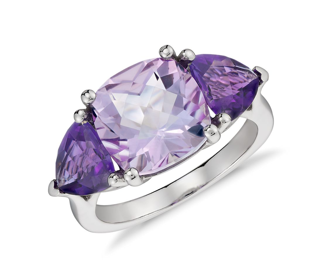 Rose de France and Amethyst Ring in 14K White Gold