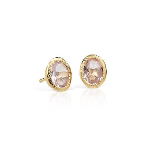 Rose de France Amethyst Stud Earrings in 18k Yellow Gold Vermeil