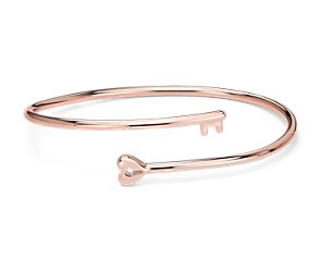 Heart Lock and Key Bangle Bracelet in Rose Gold Vermeil
