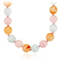 Rose Quartz, Carnelian, and Aquamarine Bead Necklace in Sterling Silver