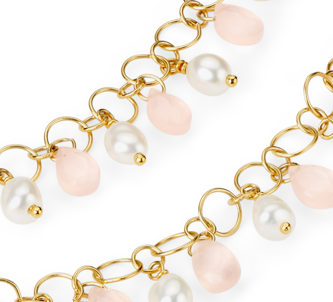 Rose Quartz and Pearl Necklace in Yellow Gold Vermeil