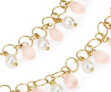 Collar de cuarzo rosado y perla en plata bañada en oro amarillo de 18k