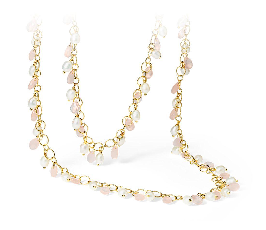 Collier de quartz rose et perles en vermeil or jaune 18carats