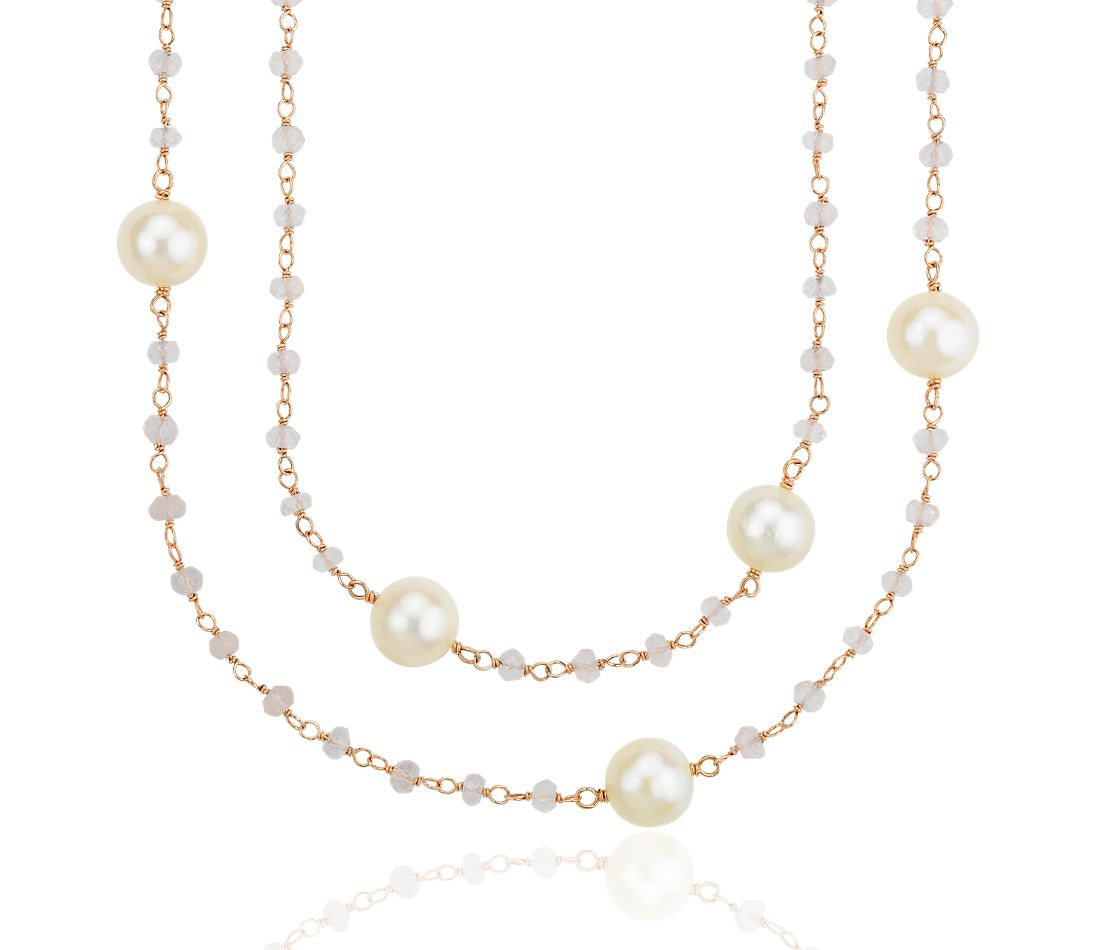Rose Quartz and Freshwater Cultured Pearl Necklace in 18k Rose Gold Vermeil