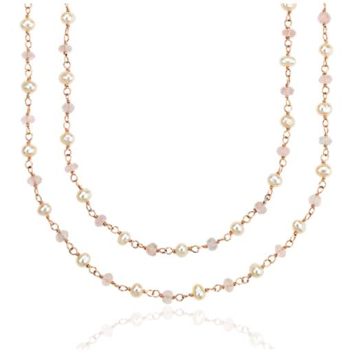 Rose Quartz and Pearl Necklace in Gold Vermeil