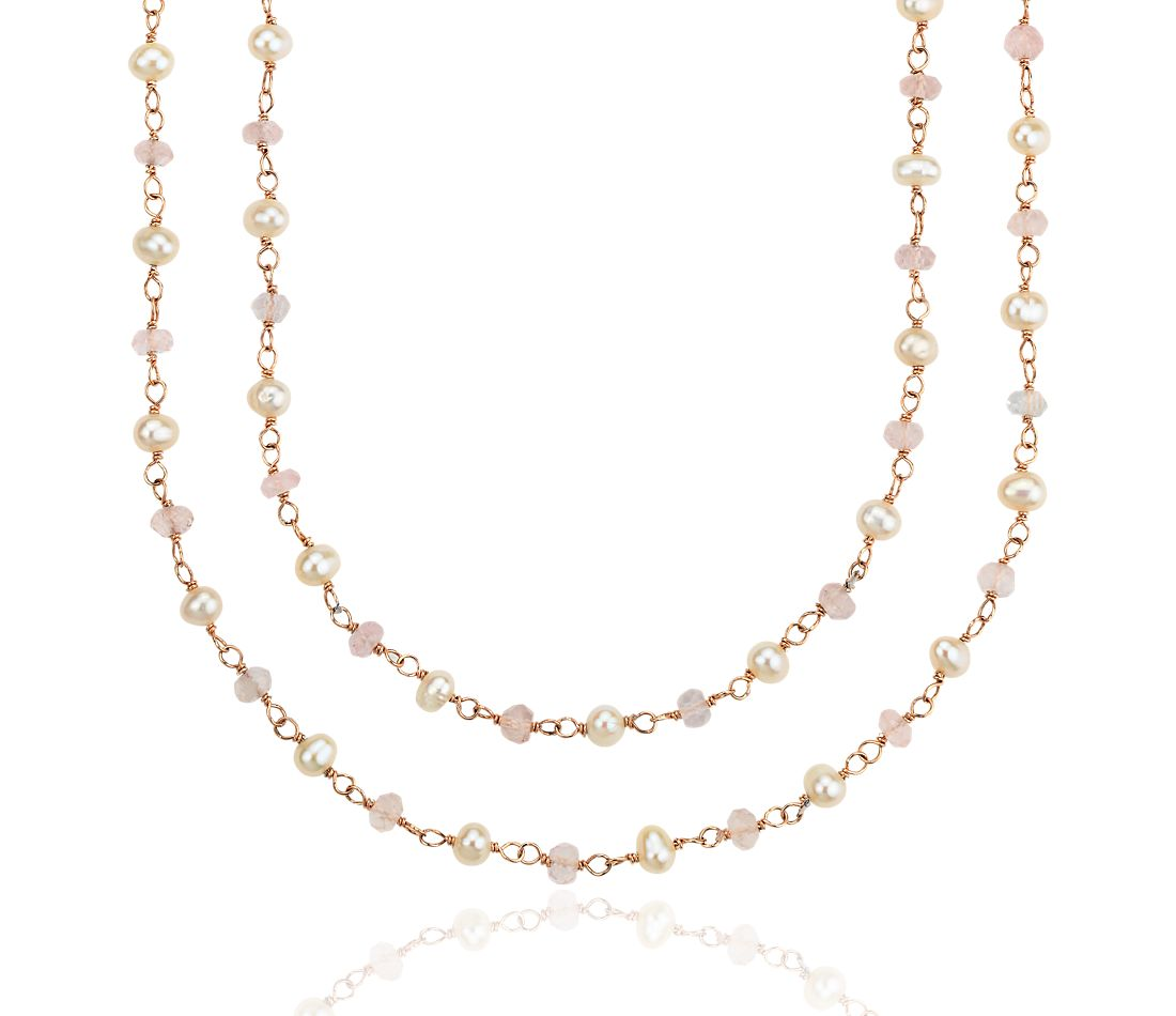 Collier de quartz rose et perles en or vermeil (3 mm)