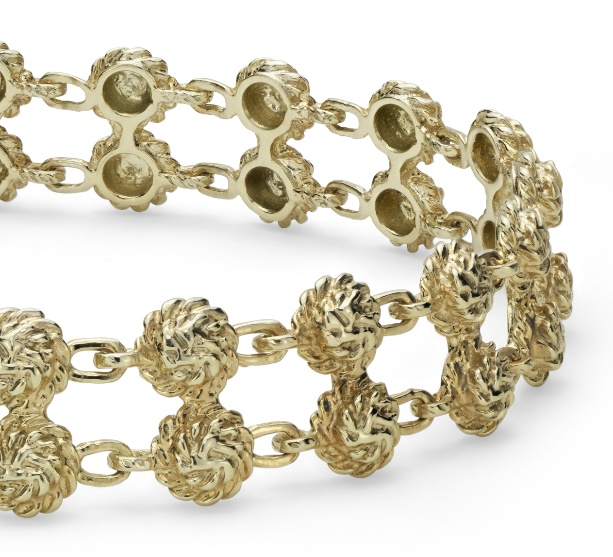 Rosette Double Row Bracelet in 14k Yellow Gold