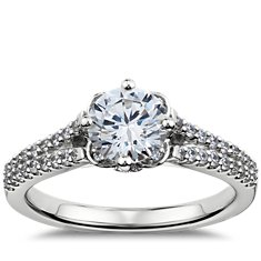 Rosette Pavé Diamond Engagement Ring in 14k White Gold