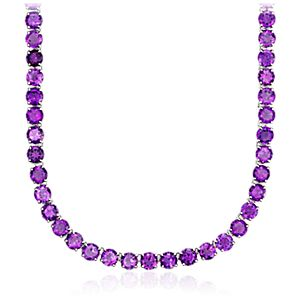 Round Amethyst Necklace in Sterling Silver (5mm)