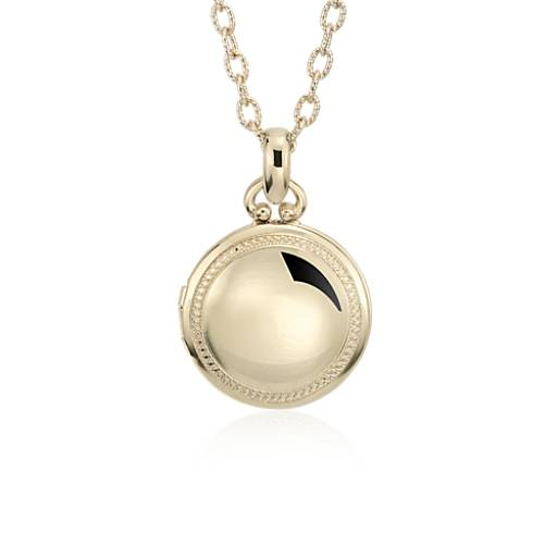 NEW Engraveable Round Beaded Locket in 14k Yellow Gold (Limited Edition)