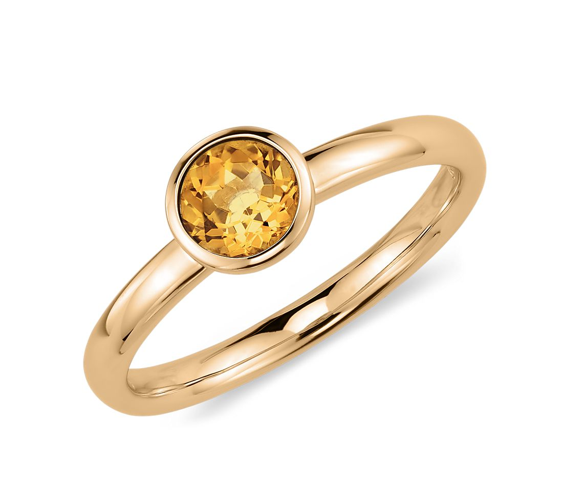 citrine bezel stack ring in 14k yellow gold blue nile