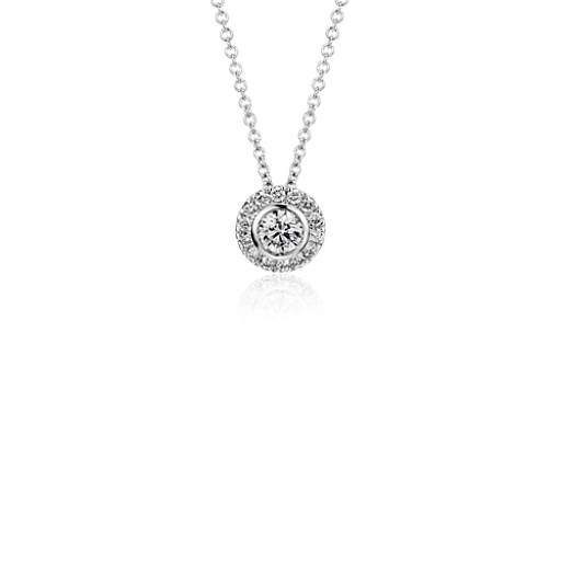 Round Diamond Bezel-Set Halo Pendant in 14k White Gold