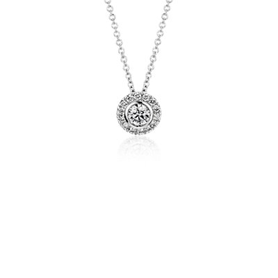 Round Diamond Bezel-Set Halo Pendant in 14k White Gold (1/2 ct. tw.)