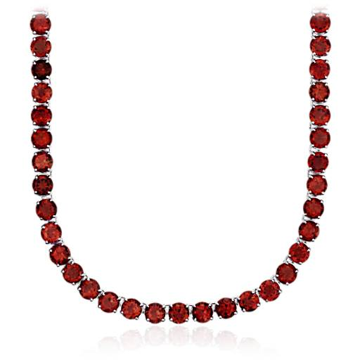 Round Garnet Necklace in Sterling Silver (5mm)