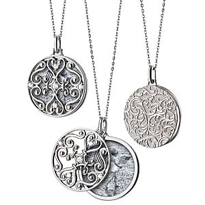 "NEW Monica Rich Kosann Round Gate Locket with White Sapphire Detail in Sterling Silver (32"")"