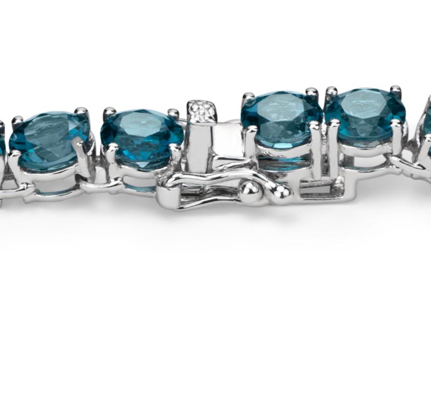 Collar con topacio redondo azul Londres en plata de ley (5mm)