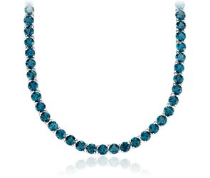 Round London Blue Topaz Necklace in Sterling Silver