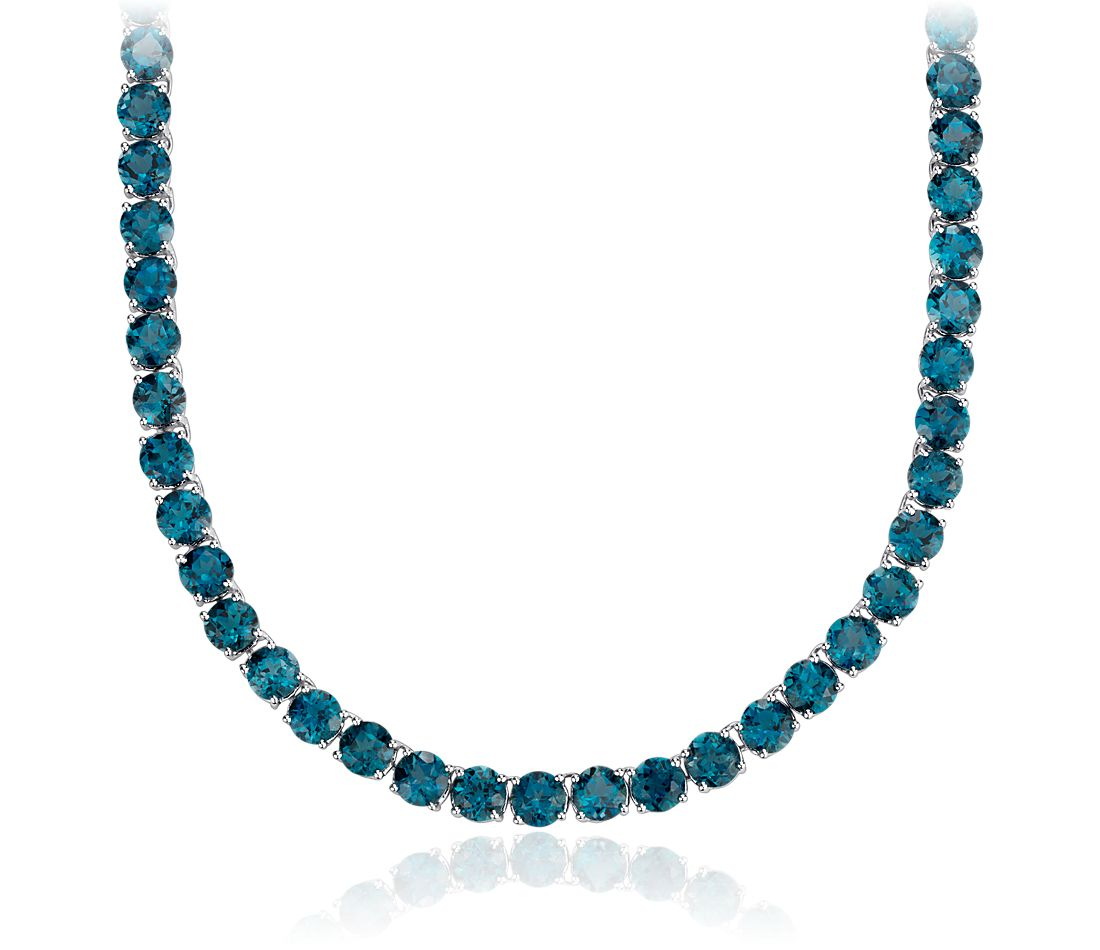 Round London Blue Topaz Necklace in Sterling Silver (5mm)