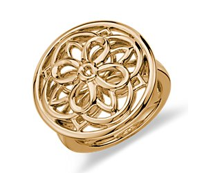 Round Medallion Ring in 14k Yellow Gold