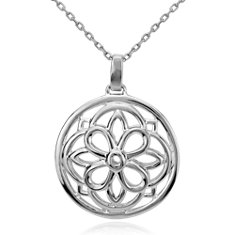 Round Medallion Pendant in Sterling Silver