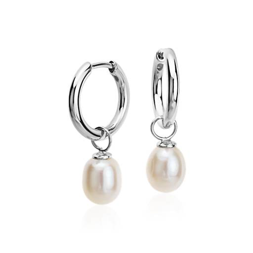 NEW Round Freshwater Cultured Pearl Hoop Earrings in Sterling Silver (7.5mm)