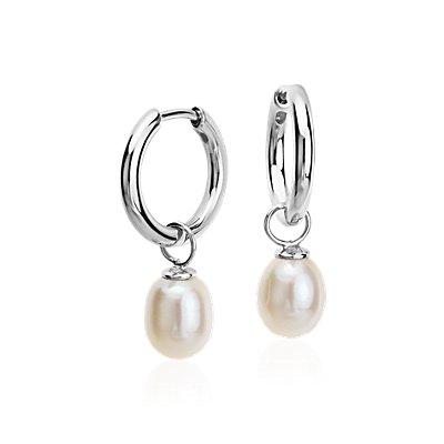 Round Freshwater Cultured Pearl Hoop Earrings in Sterling Silver (7.5mm)
