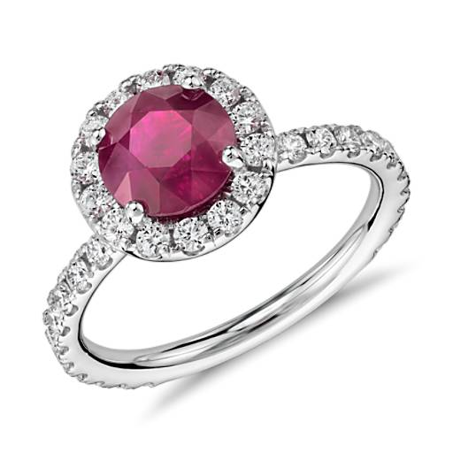Round Ruby Diamond Pave Halo Ring in 18k White Gold (1.63 ct centre)