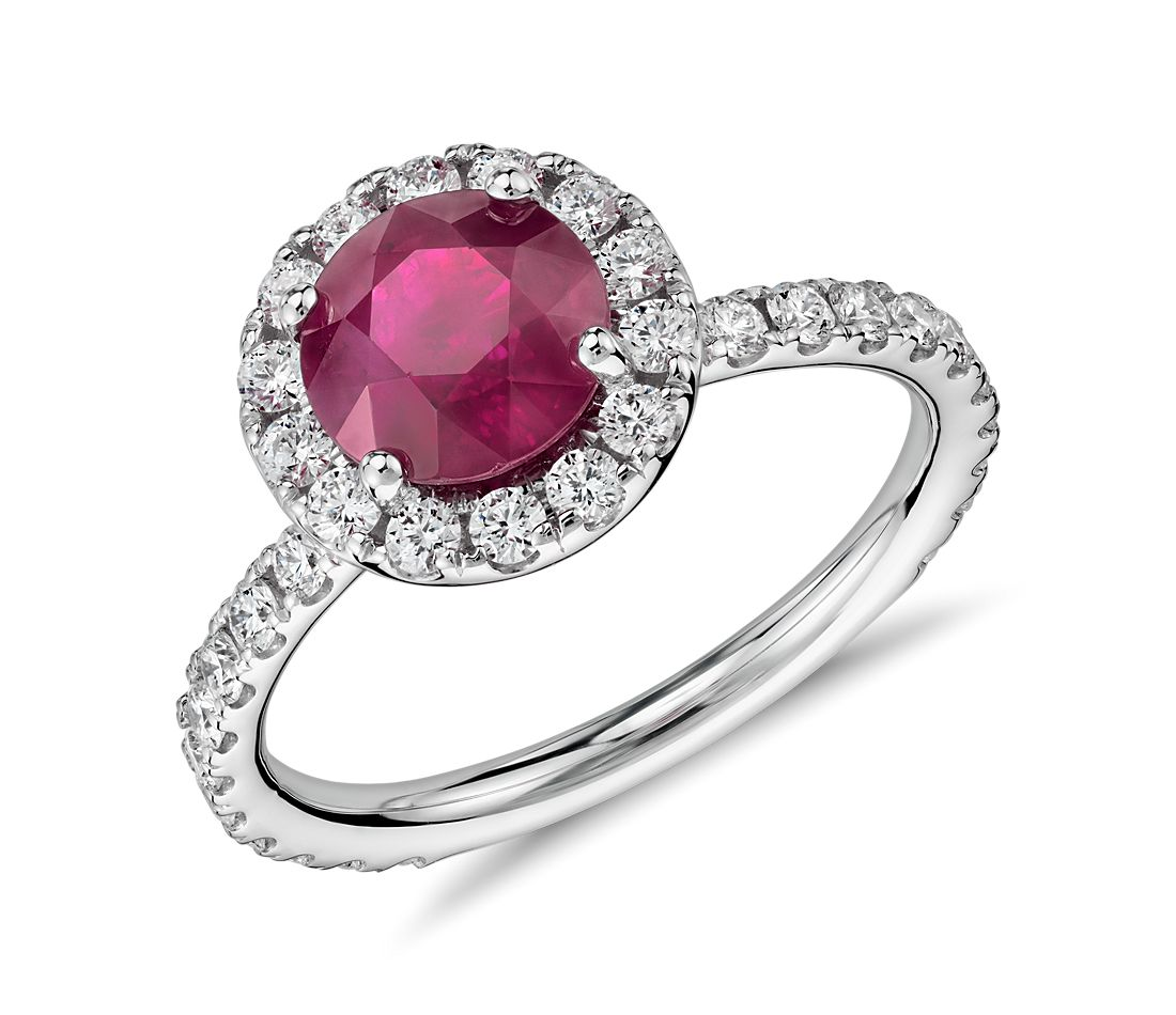 Round Ruby Diamond Pave Halo Ring in 18k White Gold (1.63 ct center)