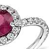 Ruby Diamond Pavé Halo Ring in 18k White Gold (1.63 ct center) (6.9mm)