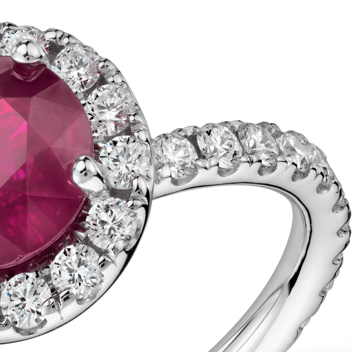 Bague halo pavé diamant et rubis rond en or blanc 18carats (1,63 ct au centre) (6,9mm)